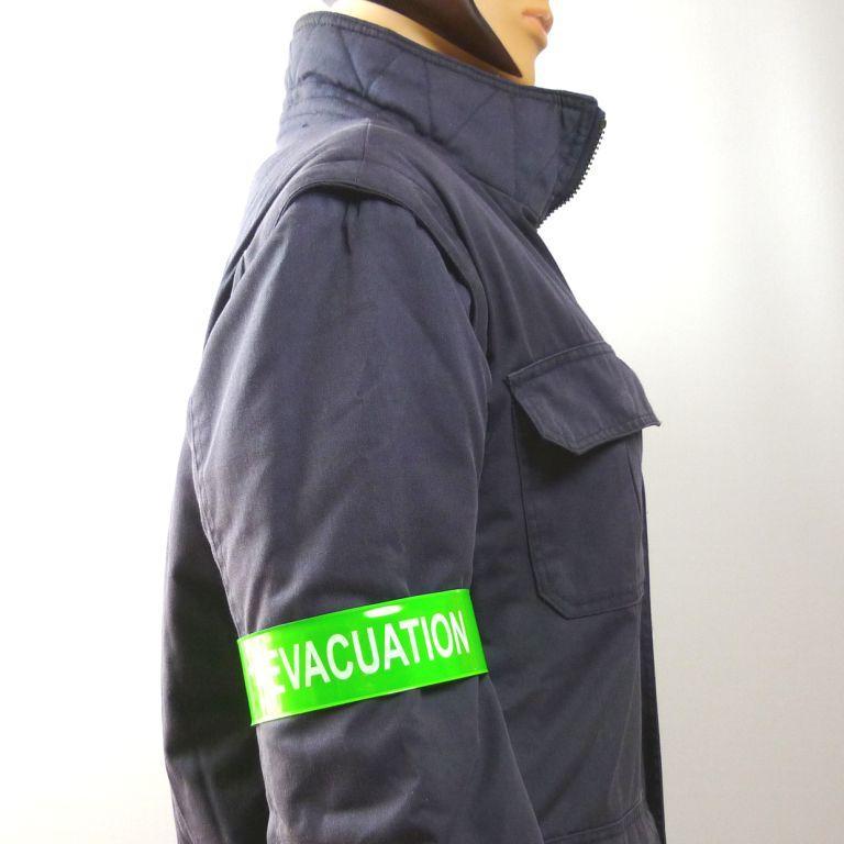 Brassard auto enroulant evacuation vert